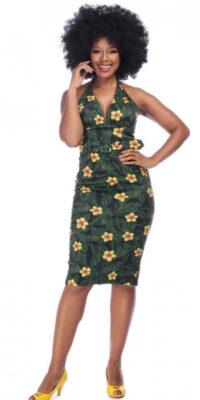 vestido tubo hibiscos